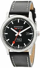 Mondaine Men's A667.30308.19SBB Retro 41mm Day Date Black Dial Black Leather