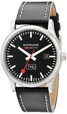 Mondaine Men's A667.30308.19SBB Retro 41mm Day Date Black Dial Black Leather