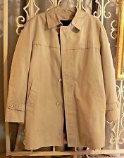 Vintage Men's LONDON FOG Lined Barn Coat Jacket Size 42 Khaki Spring Rain Nice!