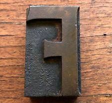 Antique Letterpress Wood Type Printing Block Letter F Beautiful Patina