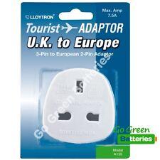 Lloytron UK 3 Pin to EU Europe 2 Pin plug adapter convert A135