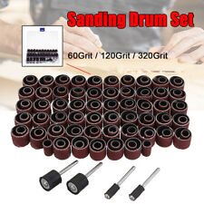 115Pcs Sanding Band Drum Sleeve 60 120 320Grit +4 Mandrel for Rotary Tool