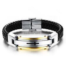 Men's Black Leather Braided Stainless Steel Cross Charm Bracelet Wristband Cuff