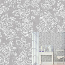 Crown Calico Leaf Paisley Soft Grey White Paste The Wall Feature Wallpaper