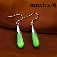 Women 1 Pair Teardrop Green Jade 925 Silver Dangle Hook Earrings