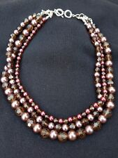 Premier Designs Jewelry Three Removable Strands Mahogany Faux Pearls STUNNING