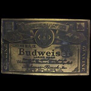 Vintage Bud Budweiser Beer Anheuser-Busch Retro Cowboy Drinker Gift Belt Buckle