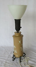 Vintage Asian China Japanese Table Lamp 24'' Tall With White Glass Shade
