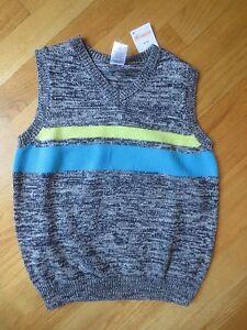 BOY GYMBOREE NEON YELLOW TURQUOISE BLUE STRIPES BLACK GRAY Sweater Vest NWT 5 6