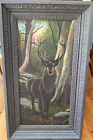 Lg Antique OIL PAINTING Stag/ Deer Forest, Ornate Frame, Beautiful, Great Detail