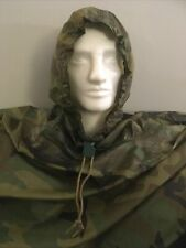 US Army Poncho Genuine Issue Woodland Camo Waterproof Basha Tarp Good Condition