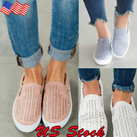 Womens Slip On Flat Shoes Ladies Pumps Trainers Casual Loafers Holiday Shoe Size