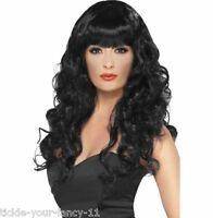 Women's Girls Black Siren Wigs 80's Glamour Fancy Dress Outfit Wig Wonder Woman