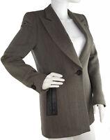 Emporio Armani Taupe Wool Blazer Fitted Jacket w/Brown Leather Trim, Sz 42, US 6