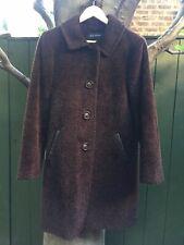 Luscious Dale Dressin Chocolate Brown Alpaca Wool Coat Leather Trim size 6