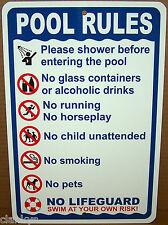 """POOL RULES on a  8"""" wide x12"""" high Aluminum Sign - Made in USA - UV Protected"""
