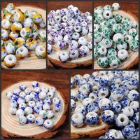 50pcs/lot 10mm Flower Ceramic Spacer Beads For Handmade Jewelry Diy Making