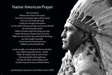 native american PRAYER vintage PHOTO POSTER indian headdress profile 24X36