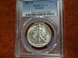 1917 D (Reverse) Walking Liberty Half Dollar,PCGS AU58, Very nice for the grade