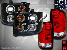 07-13 GMC Sierra 1500 2500HD CCFL Halo Projector Headlights & RED LED Tail Light
