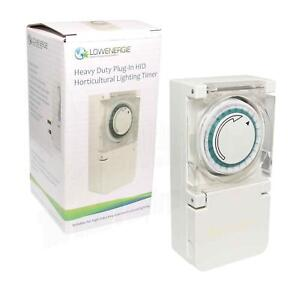 Heavy Duty Grow Light timer plug in 600w 22A hydroponics 24 Hour 15 Min contact
