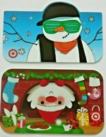 Target Gift Card Christmas LOT of 2 / Die-Cut Snowman / Santa - 2009 - No Value