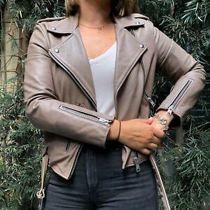 All Saints Women's Balfern Leather Jacket Stone, Size US 6 / UK 10