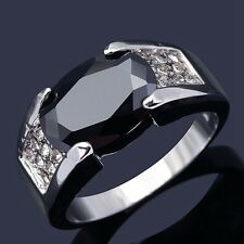 Fashion Size 11 Percious Black Sapphire 18K Gold Filled Men's Engagement Ring