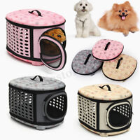 Large Foldable Pet Puppy Dog Cat Travel Mesh Bag Carrier House Kennel Cage