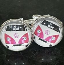 VW  CUFFLINKS VOLKSWAGON CUFF LINKS GLASS CABACHON FREE P&P STEEL AND GLASS UK