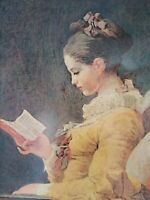 "Jean-Honore Fragonard VTG: Young Girl Reading - Done On Wood - Frame 12"" x 14"""
