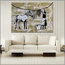Banksy Respray Washing Zebra Stripes Urban Pop Street Art Painting 140cm x 100cm