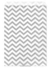 """100 Flat Merchandise Paper Bags: 6 x 9"""", Silver Gray Chevron Stripes on White"""