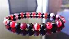 "Genuine TOURMALINE & FIRE AGATE bead bracelet for MEN Stretch 6mm - 8"" inch AAA"