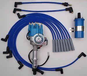 PONTIAC 350 389 400 455 BLUE Small Cap HEI DISTRIBUTOR + 45K Coil + Plug Wires