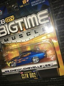 Jada Toys Dub City BIGTIME Muscle Blue Flames '69 Chevy Chevelle SS 1/64 Diecast