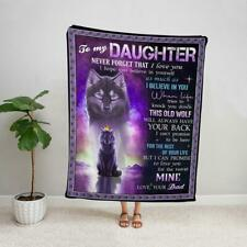 Purple wolf to my daughter from dad never forget that I love you fleece blanket