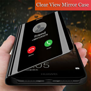 For Samsung Galaxy S10 Plus S9 S8+ S7 Smart Mirror Flip Leather Stand Case Cover