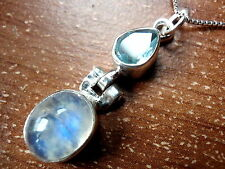 Faceted Blue Topaz & Moonstone Necklace 925 Sterling Silver Imported from India