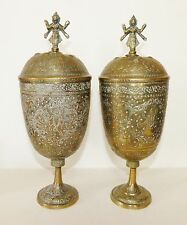 Pair VINTAGE Brass ENGRAVED URN Chalice POTS GOBLETS Indian VISHNU Hindu DEITIES
