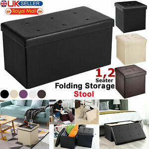 Faux Leather Ottoman Pouffe Large Storage Box Foot Stools 1 2 Seater Bench Seat