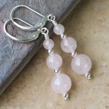 Fashion Handmade Pink Rose Quartz Round Beads Silver Dangle Earrings JE185