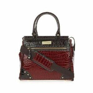 Samantha Brown Croco-Embossed Dowel Bag Burgundy NWT