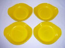 COPCO~ Vintage Set (4) Yellow Enameled Cast Iron AU GRATIN BAKNG DISHES~ Denmark