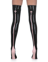 Latex Catsuit Gummi Rubber Stockings Appliqué Cross Motif Trims Customized 0.4mm