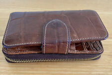 Genuine Mulberry Purse Wallet Leather Embossed Crocodile Print Oak In Colour
