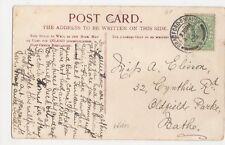 Miss A. Elisson, 32 Cynthia Road, Oldfield Park, Bath 1905 Postcard, M034