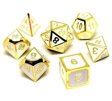 Dungeons and Dragons Dice Set : White and Gold:  Metal Pathfinder  D&D, d20, dnd