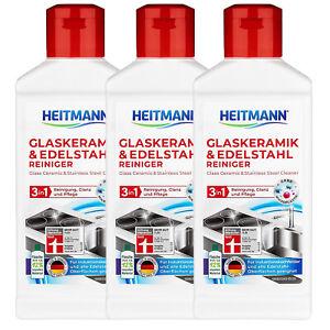 3x Heitmann Ceranfeld- Glaskeramik-& Edelstahl Reiniger 3 in1 je 250ml Induktion