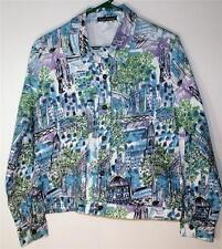 FRENCH POSTCARDS MISSES/TEENS SIZE X-LG LIGHT COTTON JACKET BLUE/MULTI STRETCH